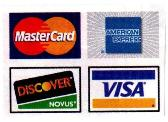 MasterCard, American Express, Discover and Visa accepted
